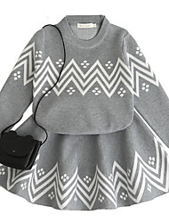 cheap -Toddler Girls' Active Basic Daily School Solid Colored Geometric Print Bow Vintage Style Classic Long Sleeve Wool Rabbit Fur Dress Gray / Cotton / Cute / Patchwork