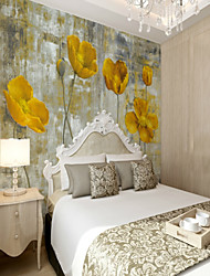 cheap -3D set hand-painted yellow flower large wall covering Mural Wallpaper Fit Bedroom Bedroom Flower