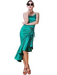 cheap -Latin Dance Dresses Women's Training Elastic Woven Satin Bandage Sleeveless Natural Dress