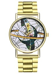 cheap -Women's World Map Stainless Steel Gold Creative Casual Watch Punk Analog Ladies World Map - Gold One Year Battery Life / Large Dial / SSUO LR626
