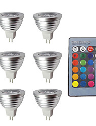 Недорогие -6pcs 3w 280lm mr16 rgb привело лампочку дистанционного управления ac dc 12v
