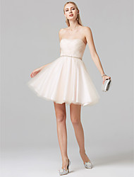 cheap -Ball Gown Elegant Short skirt Cute Cocktail Party Prom Dress Strapless Sleeveless Short / Mini Tulle with Criss Cross Beading 2020