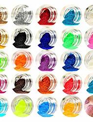 Недорогие -1шт / 1 комплект Искусственные советы для ногтей Блеск Пайетки Назначение 24 цвета маникюр Маникюр педикюр Блестящие