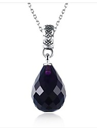 cheap -Women's Cubic Zirconia Pendant Necklace Simulated Drop Ladies Fashion S925 Sterling Silver Purple Blue Necklace Jewelry One-piece Suit For Gift Daily