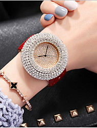 cheap -Women's Luxury Watches Pave Watch Diamond Watch Quartz Ladies Casual Watch Analog White Black Red / Genuine Leather / Genuine Leather