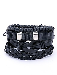 cheap -4pcs Men's Wrap Bracelet Statement Leather Bracelet Jewelry Black For Daily Street