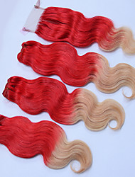 cheap -3 Bundles with Closure Brazilian Hair Wavy Human Hair Ombre Hair Weaves / Hair Bulk One Pack Solution Human Hair Extensions Red Multi-color Human Hair Weaves Silky Ombre Hair Human Hair Extensions
