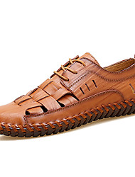 cheap -Men's Comfort Shoes Leather / Patent Leather Spring & Summer Casual Oxfords Breathable Black / Brown / Red / Outdoor