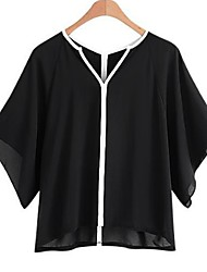 cheap -Women's Basic Shirt - Color Block Black & White