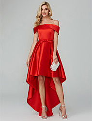 cheap -A-Line Off Shoulder Asymmetrical Satin Minimalist Cocktail Party / Homecoming / Holiday Dress with Bow(s) 2020
