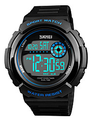 cheap -SKMEI Men's Sport Watch Japanese Digital 50 m Water Resistant / Water Proof Chronograph Dual Time Zones PU Band Digital Casual Fashion Black / Green - Red Green Blue One Year Battery Life / Stopwatch