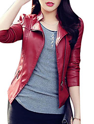cheap -Women's Going out / Weekend Basic / Street chic Fall / Winter Short Leather Jacket, Solid Colored Notch Lapel Long Sleeve PU Black / Red