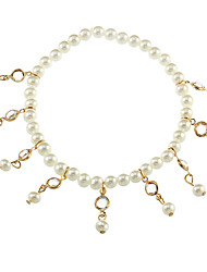 cheap -Ankle Bracelet Simple Classic Elegant Women's Body Jewelry For Holiday Street Beads Imitation Pearl Alloy Gold Silver 1pc