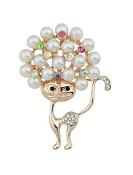 cheap -Women's Pearl Brooches Cat Ladies Basic Fashion Brooch Jewelry Gold For Daily Date