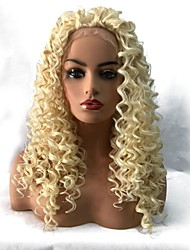 cheap -Synthetic Lace Front Wig Curly Middle Part Lace Front Wig Long Light Blonde Synthetic Hair Women's Heat Resistant African American Wig Blonde StrongBeauty