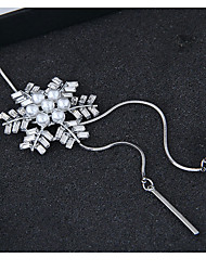 cheap -Women's Pendant Necklace Long Necklace Snowflake European Fashion Alloy Silver 70 cm Necklace Jewelry For Party