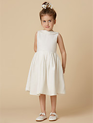 cheap -A-Line Knee Length Flower Girl Dress - Cotton Sleeveless Jewel Neck with Pearls / First Communion