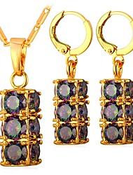 cheap -Women's Cubic Zirconia Hoop Earrings Pendant Necklace Ladies Fashion Zircon Earrings Jewelry Gold / Silver For Daily
