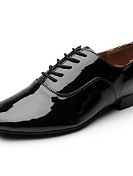 cheap -Men's Dance Shoes Patent Leather Latin Shoes Heel Thick Heel Customizable Black / Performance / Practice