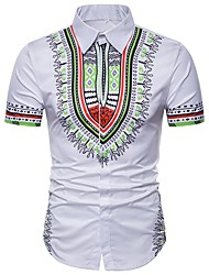 cheap -Men's Daily Holiday Basic Plus Size Shirt - Tribal Red / Short Sleeve / Summer