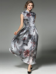 cheap -Women's Holiday / Going out Vintage / Street chic Maxi Swing Dress - Floral Print Stand Spring Dark Gray L XL XXL