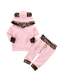 cheap -Toddler Girls' Clothing Set Solid Colored Leopard Long Sleeve Cotton Daily Blushing Pink Active Regular Regular / Cute