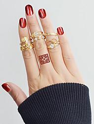 cheap -Ring Set Gold Alloy Leaf Heart Flower Ladies Basic Fashion 7pcs 7