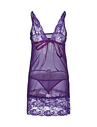 cheap -Women's Sexy Babydoll & Slips Nightwear - Lace Solid Colored Black Purple One-Size / Deep V