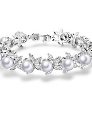 cheap -Women's Pearl Chain Bracelet Bracelet Bangles Flower European Sweet Zircon Bracelet Jewelry White For Party