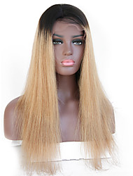 cheap -Remy Human Hair Lace Front Wig Rihanna style Brazilian Hair Straight Light Brown Brown Wig 130% Density with Baby Hair Ombre Hair Dark Roots Natural Hairline Bleached Knots Women's Short Human Hair