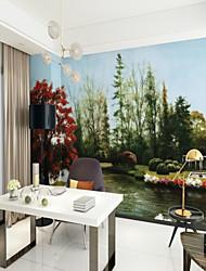 cheap -Custom Lakeside Landscape 3D Large Wall Covering Mural Wallpaper Fit Bedroom Restaurant Flower