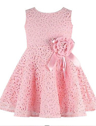 cheap -Toddler Girls' Basic Daily Holiday Solid Colored Floral Jacquard Lace Mesh Sleeveless Dress White / Cute