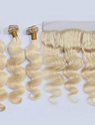 cheap -4 Bundles Brazilian Hair Wavy Virgin Human Hair Ombre Hair Weaves / Hair Bulk One Pack Solution Human Hair Extensions Blonde Human Hair Weaves Soft Silky Hot Sale Human Hair Extensions / 10A