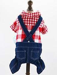 cheap -Dog Cat Pets Jumpsuit Puppy Clothes Plaid / Check British Jeans Cowboy Fashion Dog Clothes Puppy Clothes Dog Outfits Red Blue Costume for Girl and Boy Dog Cotton / Polyester Jeans XS S M L XL