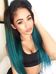 cheap -Unprocessed Human Hair Lace Front Wig Layered Haircut Middle Part style Brazilian Hair Straight Blue Wig 130% Density with Baby Hair Ombre Hair Dark Roots Women's Short Medium Length Long Human Hair