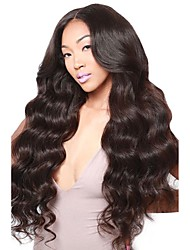 cheap -Virgin Human Hair 360 Frontal Wig Middle Part Deep Parting style Brazilian Hair Wavy Body Wave Black Wig 180% Density with Baby Hair Natural Hairline Bleached Knots Women's Short Medium Length Long
