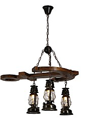 cheap -JLYLITE 3-Light 80 cm Mini Style Chandelier Metal Glass Industrial Painted Finishes Artistic / Retro Vintage 110-120V / 220-240V