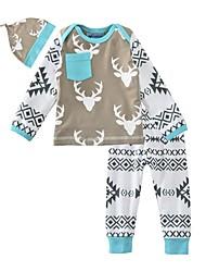 cheap -Toddler Boys' Active Daily Holiday Print Print Long Sleeve Regular Regular Cotton Clothing Set Gray