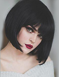 cheap -Human Hair Capless Wigs Human Hair Straight Bob / Short Hairstyles 2019 Natural Hairline Natural Black Machine Made Wig Women's