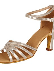 cheap -Women's Dance Shoes Patent Leather / Faux Suede Latin Shoes Buckle / MiniSpot / Polka Dot Sandal / Heel Chunky Heel Customizable Gold / EU37