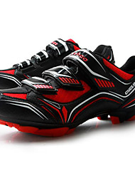 cheap -Tiebao® Mountain Bike Shoes Carbon Fiber Anti-Slip Cycling Black / Red Men's Cycling Shoes / Hook and Loop