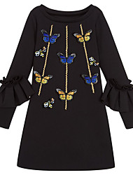cheap -Kids Girls' Basic Daily Geometric Print Long Sleeve Dress Black