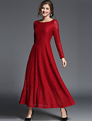 cheap -Women's Maxi Red Black Dress Vintage Street chic Spring Party Going out Swing Solid Colored Lace S M