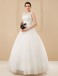 cheap -Ball Gown Wedding Dresses Scoop Neck Floor Length Beaded Lace Regular Straps Romantic Illusion Detail with Beading Appliques 2021