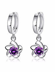 cheap -Women's Cubic Zirconia Drop Earrings Ladies Fashion Silver Plated Earrings Jewelry White / Purple For Party Daily