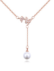 cheap -Women's Cubic Zirconia Pearl Pendant Necklace Y Necklace Butterfly European Fashion Elegant Zircon Copper Gold Silver Rose Gold 40 cm Necklace Jewelry For Wedding Party / Evening