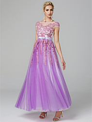 cheap -A-Line Illusion Neck Floor Length Lace Over Tulle Floral / Pastel Colors Prom / Holiday Dress 2020 with Beading / Ruffles