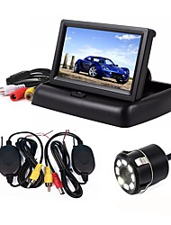 cheap -ZIQIAO 3 in 1 4.3inch Wireless Parking Camera 170 Degree Monitor Video System Folding Foldable Car Monitor With Rear View Camera Wireless Kit