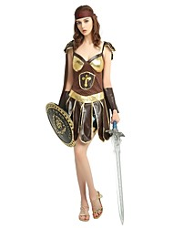 cheap -Soldier / Warrior Costume Women's Ancient Greek Ancient Rome Halloween Birthday Halloween Carnival Children's Day Festival / Holiday Polyster Coffee Women's Carnival Costumes Solid Colored Halloween