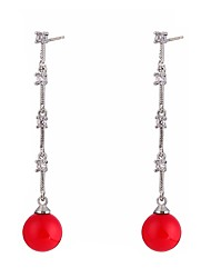 cheap -Women's Cubic Zirconia Pearl Drop Earrings Long Drop Ladies Bohemian Rock Fashion Boho Pearl Zircon Shell Earrings Jewelry Red For Halloween Bar